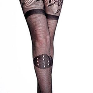 fba891706 Accessories - Strappy Sheer Stretchy Black Floral Fishnet Tights